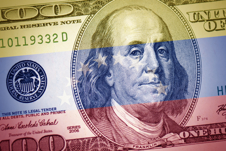colorful flag of venezuela on a american dollar money background Stok Fotoğraf - 122644706