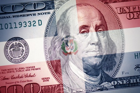 colorful flag of dominican republic on a american dollar money background