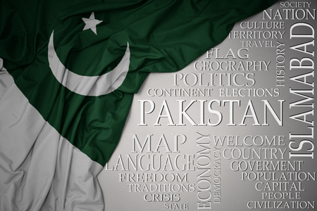 waving colorful national flag of pakistan on a gray background with important words about country . concept