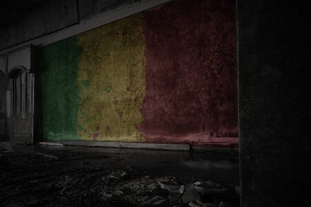 painted flag of mali on the dirty old wall in an abandoned ruined house. concept