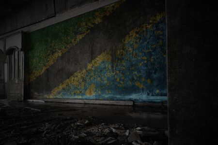 painted flag of tanzania on the dirty old wall in an abandoned ruined house. concept