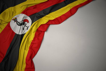 waving colorful national flag of uganda on a gray background.
