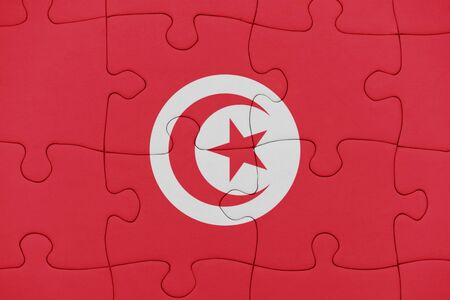 puzzle with the national flag of tunisia. concept