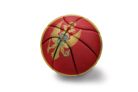 basketball ball with the colored national flag of montenegro on the white background