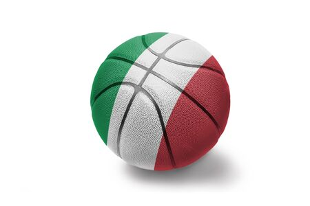 basketball ball with the colored national flag of italy on the white background