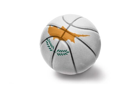 basketball ball with the colored national flag of cyprus on the white background