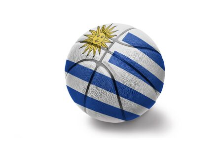 basketball ball with the colored national flag of uruguay on the white background