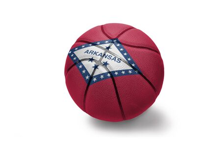 basketball ball with the colored flag of arkansas state on the white background
