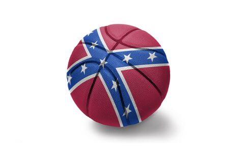 basketball ball with the colored confederate flag on the white background