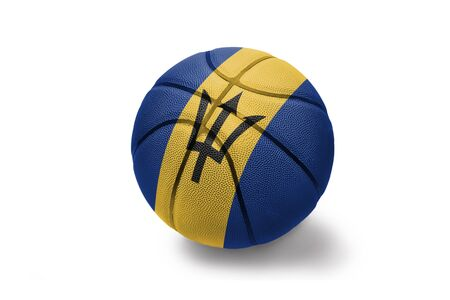 basketball ball with the colored national flag of barbados on the white background Stock Photo