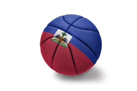 basketball ball with the colored national flag of haiti on the white background