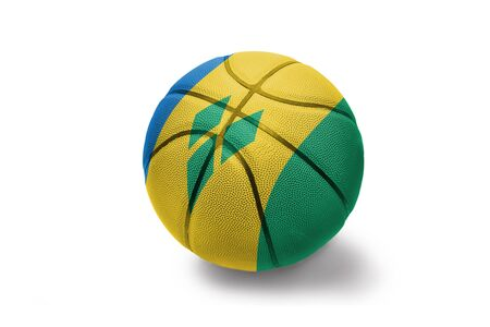 basketball ball with the colored national flag of saint vincent and the grenadines on the white background