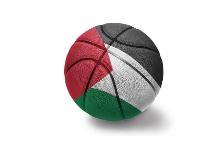 basketball ball with the colored national flag of palestine on the white background