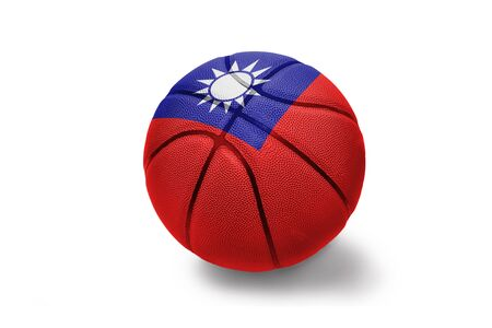 basketball ball with the colored national flag of taiwan on the white background