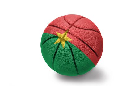 basketball ball with the colored national flag of burkina faso on the white background