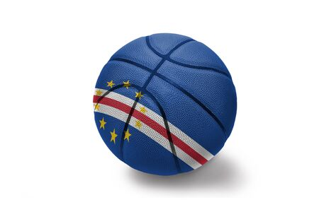 basketball ball with the colored national flag of cape verde on the white background