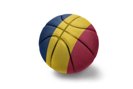 basketball ball with the colored national flag of chad on the white background Stockfoto
