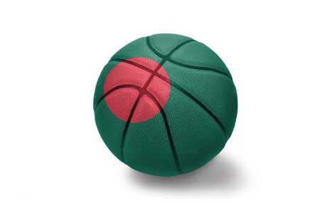 basketball ball with the colored national flag of bangladesh on the white background