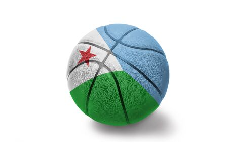 basketball ball with the colored national flag of djibouti on the white background