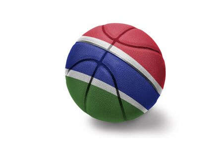 basketball ball with the colored national flag of gambia on the white background
