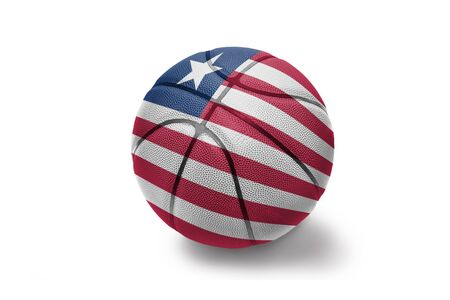 basketball ball with the colored national flag of liberia on the white background