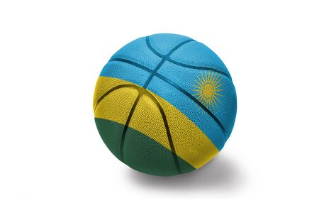 basketball ball with the colored national flag of rwanda on the white background