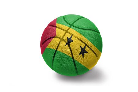 basketball ball with the colored national flag of sao tome and principe on the white background