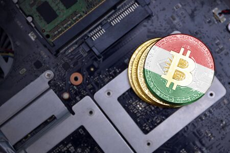 golden shining bitcoins with flag of kurdistan on a computer electronic circuit board. bitcoin mining concept.