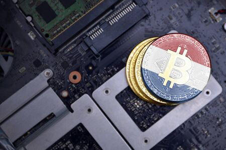 golden shining bitcoins with flag of netherlands on a computer electronic circuit board. bitcoin mining concept.