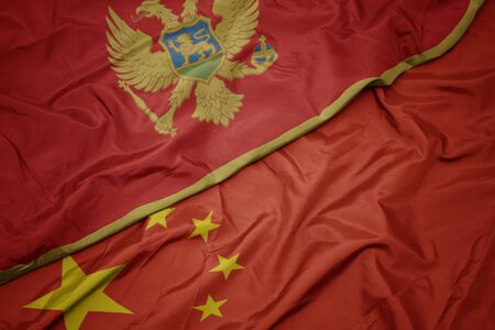 waving colorful flag of china and national flag of montenegro. macro
