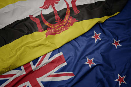 waving colorful flag of new zealand and national flag of brunei. macro