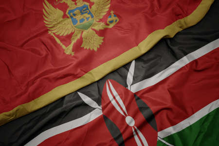 waving colorful flag of kenya and national flag of montenegro. macro