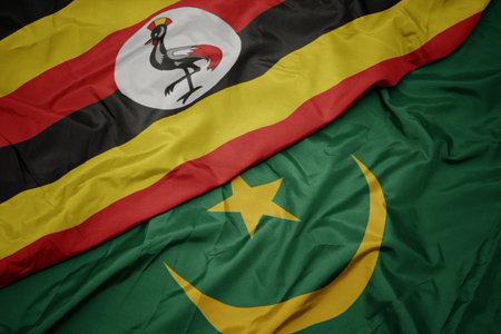 waving colorful flag of mauritania and national flag of uganda. macro