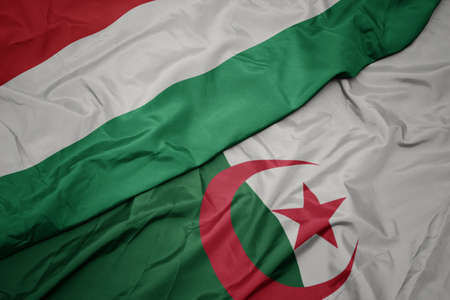waving colorful flag of algeria and national flag of hungary. macro