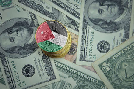 golden shining bitcoins with flag of jordan on a dollar money background. bitcoin mining concept. 写真素材