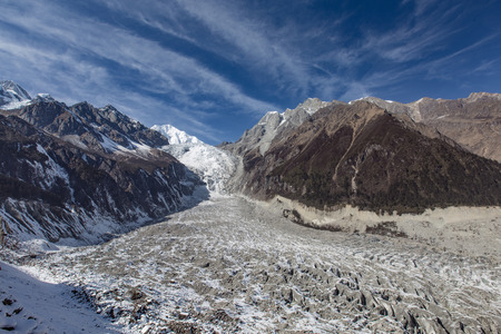 landforms: Hailuogou glacier Snow Mountain Natural plateau scenery Stock Photo