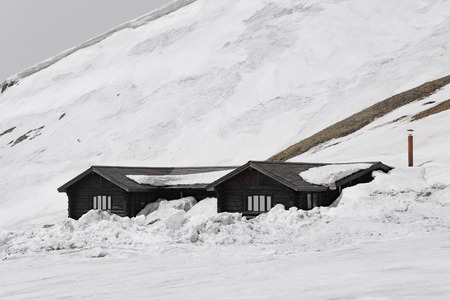 log cabin in snow: Log cabin in Changbai Mountain