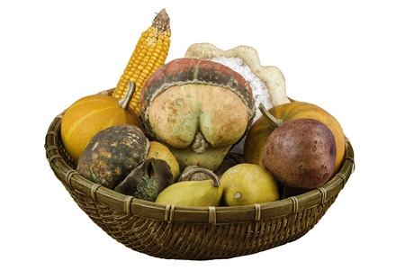 Dry vegetables and fruits as decoration in a basket, isolated on white photo
