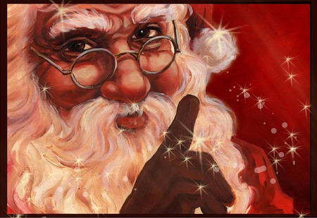 Christmas Santa with hat and spectacles, stars and sparkles on a red background