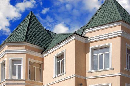 blue facades sky: Single Family House