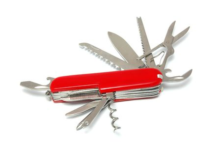 Swiss army style knife isolated on white background  photo
