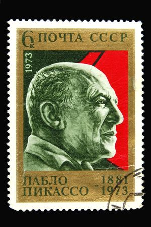 pablo picasso: Old Soviet postage stamp with Pablo Picasso