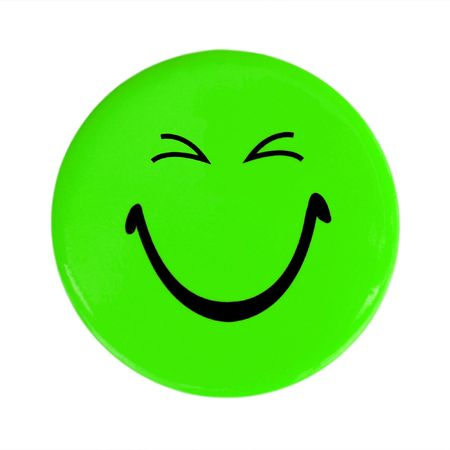 Green happy face button photo