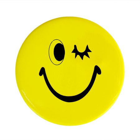 Yellow happy face button photo