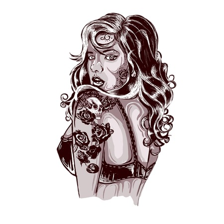 punk hair: Old School Tattoos Swallow Tattoo Design Shop Tattooed Lady Picture Illustration
