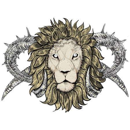 sketch of tattoo lion with horns, Taurus, horned, emblem Vector
