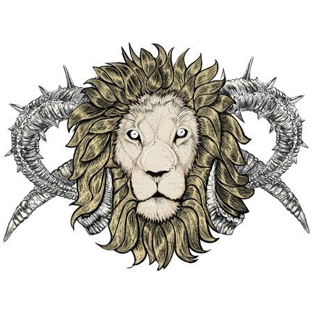 sketch of tattoo lion with horns, Taurus, horned, emblem Illustration
