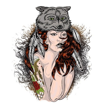 Old Skull Tattoos Tattooed girl the she-wolf Picture Vector