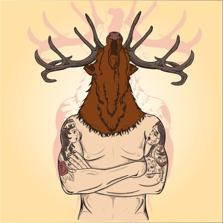 snouts: Tattoos Tattooed a man with a deer s head
