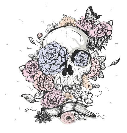 skull tattoo: Schedel en bloemen vlinders